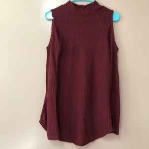 Decree Mock Neck Cold Shoulder Long Sleeve Sweater